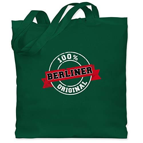 Shirtracer Städte - Berliner Original - Unisize - Dunkelgrün - Vintage - WM101 - Stoffbeutel aus Baumwolle Jutebeutel lange Henkel