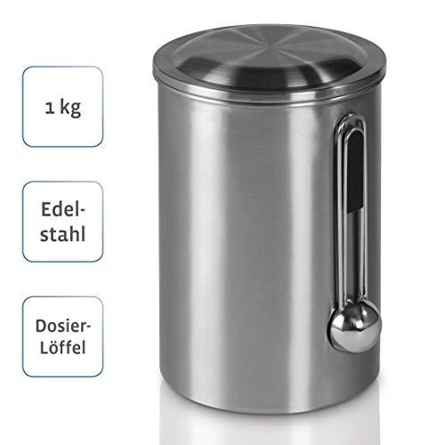 Xavax Kaffeedose mit Dosierlöffel (luftdichte Aromadose für 1kg Kaffeebohnen, Kaffeebehälter aus Edelstahl, Vorratsdose zur Aufbewahrung von Bohnen) silber
