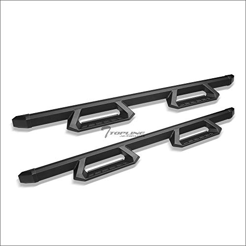 Topline Autopart Matte Black Aluminum Hoop Drop Step Side Nerf Bars Rail Running Boards For 09-18 Dodge Ram 1500/19-20 Classic Quad (Extended) Cab