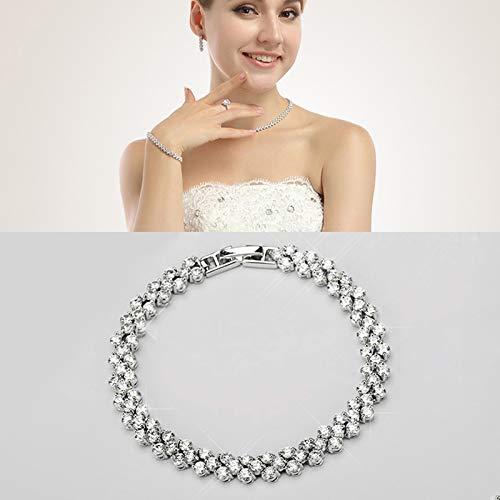 para la Pulsera SSL 18cm joyería de la Pulsera platinado Moda circón incrustada Romana Pulseras