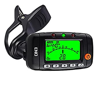 Portable Clip on Violin Tuner and Metronome with Sound Acoustic Clip on Guitar Tuner 3 in 1 Metronome Tone Generator for Guitar Ukulele Bass Violin  Black