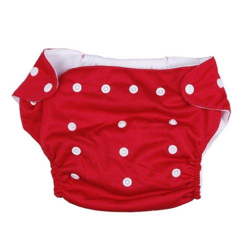 La Vogue Bébé Couche Imperméable Lavable Polyester à 3-13Kg Boutons Rouge