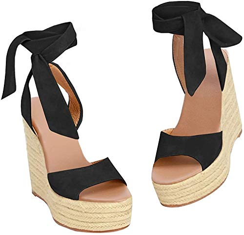 Fashare Womens Open Toe Tie Lace Up Espadrille Platform Wedges Sandals Ankle Strap Slingback Dress Shoes (Black, Numeric_5)