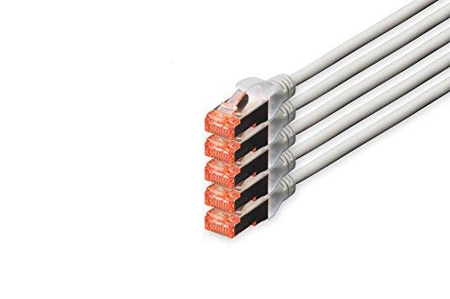 DIGITUS - 5 Stück - Patch-Kabel Cat-6 - 10m - S-FTP Schirmung - Kupfer-Adern - LSZH Mantel - Netzwerk-Kabel - Grau