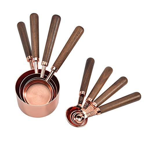 TETHYSUN Juego de tazas y cucharas medidoras de acero inoxidable, juego de 8 tazas medidoras y cucharas con mango de madera...