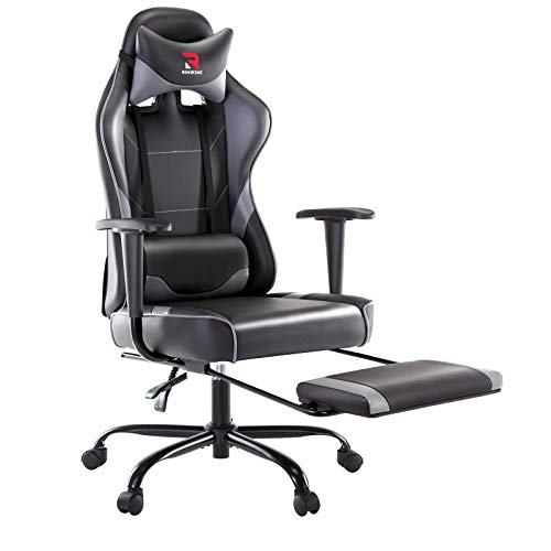 Rimiking Ergonomic Gaming Chair with Footrest - Adjustable Swivel Leather Racing Computer Desk Chair...
