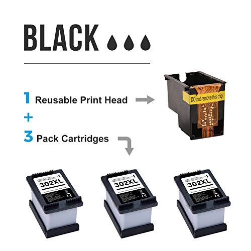 MyCartridge Compatible para Cartuchos de Impresora HP 302 XL 302XL para Impresora HP Envy 4520 4525 4527 Officejet 3830 3831 3833 4650 4654 5230 Deskjet 1110 3630 3636 3639 Eco Cartucho (3 Negro)
