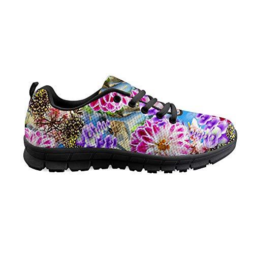 Wrail Unisex Schuhe Turnschuhe mit Motiv Laufschuhe Blumenmuster Bequem Sneaker Schnürer Fitness Outdoor Leichte Atmungsaktiv Sneaker Bunte Sportschuhe Freizeitschuhe Pink EU 38
