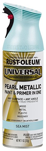 Rust-Oleum AC1213 301551 Universal All Surface Spray Paint 11 oz, Metallic Green Mist, Pearl Sea/Blue