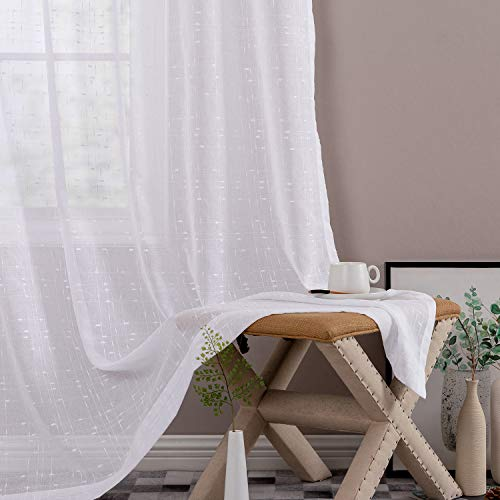 White Sheer Curtains for Living Room Linen Textured 72 inch Rod Pocket Voile Drapes for Bedroom Kitchen Window Curtain Set 2 Panels