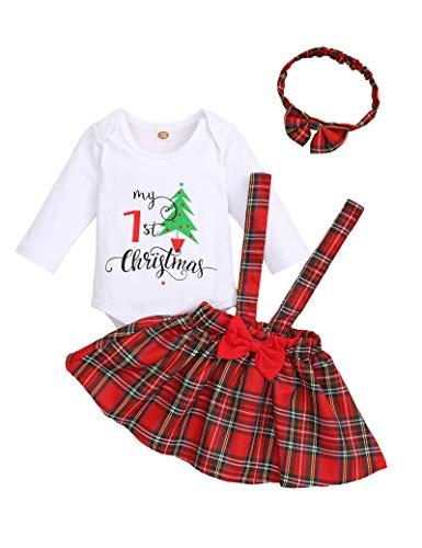 Baby Girl Weihnachtskleid Neugeborene Langarm Polka Dot Rock Mädchen Elch Kleider One Piece