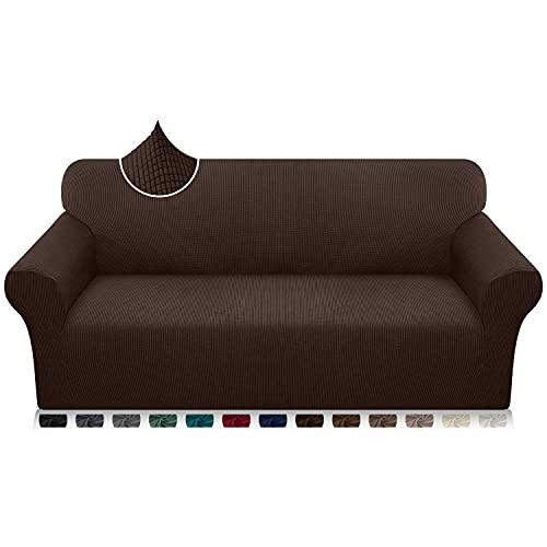 Luxurlife Funda de sofá de Alta Elasticidad Funda para Sofá Premium Súper Suave Protector de Muebles para Sala de Estar(3 Plazas,Chocolate)