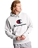 Champion Men's Powerblend Fleece Pullover Hoodie, Double Logo, White-586222, MEDIUM