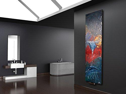 Wandheizung Vernissage Design 40: Blue Curacao, 180 x 47 cm, 1118 Watt, Acryl für Wohnraum und Bad (handgemaltes Unikat, Wandbild als Wohnraum-Heizkörper, Badheizkörper Mittelanschluss)