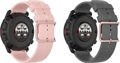 Gransho Correa de Reloj Recambios Correa Relojes Caucho 22mm - Silicona Correa Reloj con Hebilla (22mm, Rosa Palido + Gris)