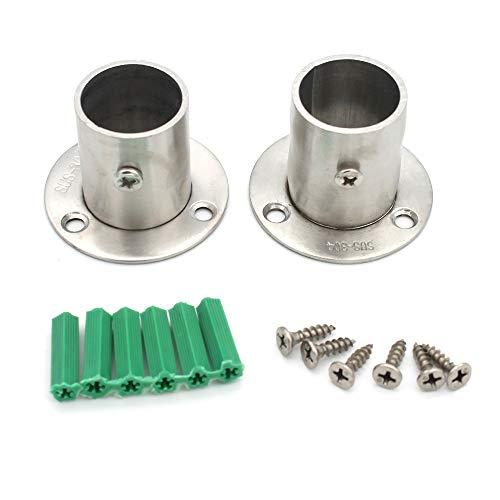 MAOMAO - Juego de 2 soportes para barra de armario de acero inoxidable resistente con tornillos, 1 pulgada de diámetro, color plateado mate en forma de O