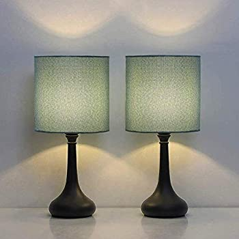 HAITRAL Modern Table Lamps Vintage Bedside Lamps Nightstand Lamps Set of 2 for Bedroom Family Room Living Room with Metal Base Fabric Lamp Shade - CadetBlue