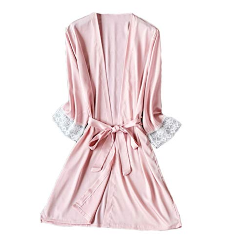 Frauen Sexy Satin Pyjamas Silk Lace Sexy V-Ausschnitt Pyjamas Kimono Cardigan Robe Brautjungfer Brautgeschenke Damengeschenke Single Party Pyjamas Sling Dress(Kimono+Gürtel Rosa,XXL)
