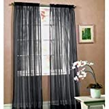 Jasmine Linen 2 Piece Sheer Luxury Curtain Panel Set for Kitchen/Bedroom/Backdrop 84' Inches Long (Black)