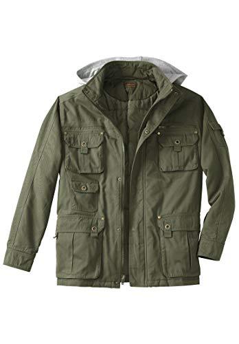 Boulder Creek Men's Big & Tall Multi-Pocket Lined Twill Jacket, Olive Big-3Xl