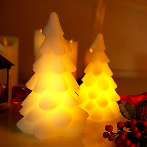 CCLIFE LED Candles, 2/3/5PCS Battery Operated Real Wax or Plastic Candles Flameless Candle Chrismas, Colour:2pcs Christmas Tree. Real Wax
