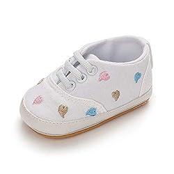 MASOCIO Babyschuhe Mädchen Lauflernschuhe Sneaker Baby Schuhe Anti-Rutsch Größe 19 6-12 Monate Weiß
