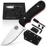 Survival Knife | Bushcraft Neck Knife Men's Gift Set Fixed Blade Kydex Sheath & Ferro Rod - Full Tang EDC D2 Blade - Nonslip Handle - Great For Camping Trekking