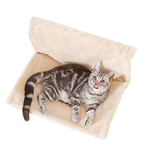 GODGETS Amaca Cuccia da calorifero per Gattini Stile Amaca in Pile, Pieghevole, Resistente e Durevole,Beige,46×30×25 CM