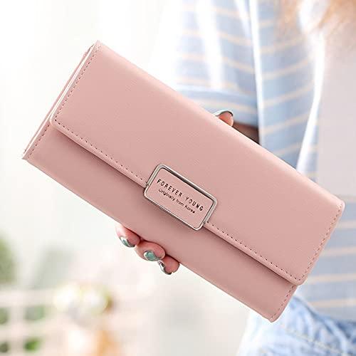 Cartera de Mujer 3 Pliegues, Monedero Largo de Cuero PU, Monedero, Monedero, Bolsillo para teléfono, Tarjetero de Gran Capacidad-Pink