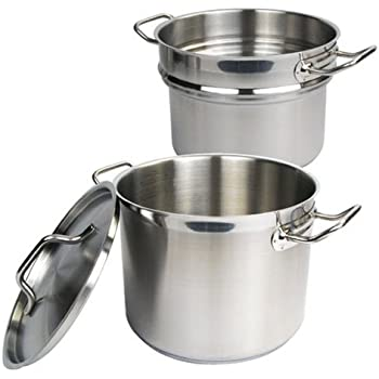 Winware 8 Quart Double Boiler with Cover, Stainless Steel