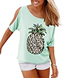 YOINS Summer Tops for Women Tropical Fruit Graphic Tee Cold Shoulder Short Sleeve Pineapple Blouse Loose Casual T-Shirts Pineapple-Mint Green M