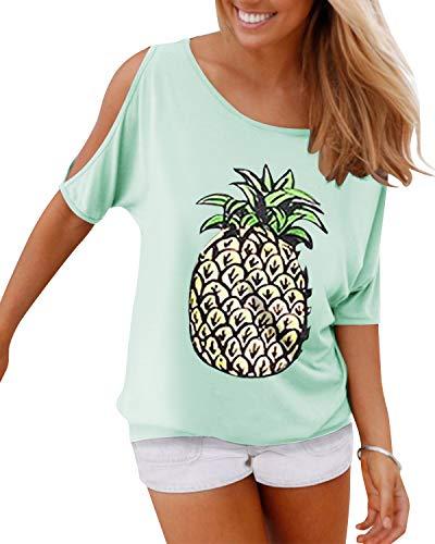 YOINS Bluse Damen Kurzarm Schulterfrei Oberteil Damen Off Shoulder Top Sommer Carmen Shirt Feder Ananas-Mintgrün XXL