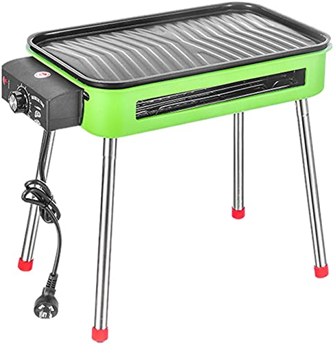 LXNQG Indoor Outdoor Electric Carbon Barbecue Grill Electric BBQ Smokeless Grill with Legs 1800W Adjustable Thermostat Removable Washable Plates, 18.5' X 9.8', Green