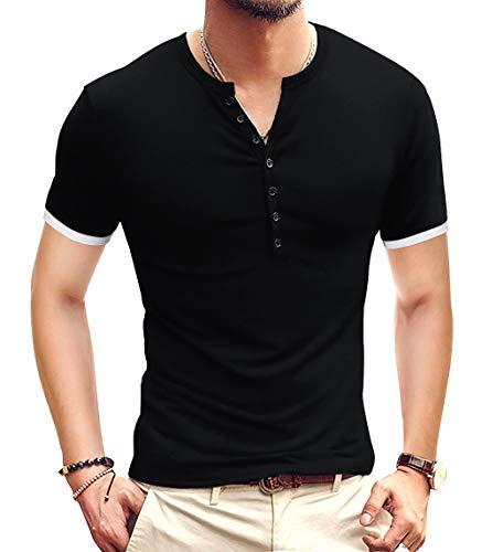 YTD Mens Casual Slim Fit Basic Henley Short Sleeve Fashion Summer T-Shirt M Black