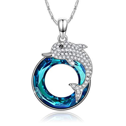 J.RENEÉ Delfín Colgantes Mujer, con Cristal Azul de Swarovski, Joyas para Mujer, Collares Mujer, Regalos para Mujer, Joyeria Mujer