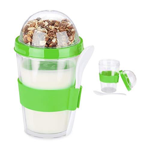 Relaxdays Juego de 2 vasos para cereales, yogur, cereales para llevar, incluye cuchara, 400 ml, altura 16 x 8 cm, color verde