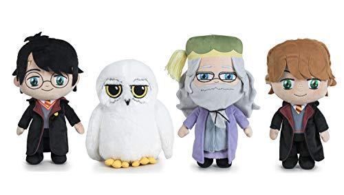 "Famosa Softies Harry Potter - Pack 4 Peluches 7'87 ""/ 20cm Harry Potter + Ron Weasley + Dumbledor + Hedwig Qualité Super Soft"