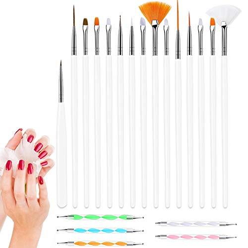 Nuluxi Nailart Stifte Nagel Pinsel Set Nail Art Malerei Detaillierung Pinsel Zeichenstift Nail Art Pinsel 15 Nail-Art-Pinseln und 5 Spitzen Swirl Werkzeug für DIY Maniküre Lackieren Punktemuster