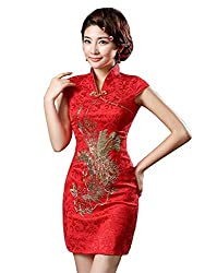 Red and Gold Phoenix Brocade Chinese Traditional Cheongsam Dress for Women