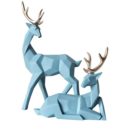 homozy Resin Elk Deer Couple Collectible Ornament Craft - Gold - Light Blue