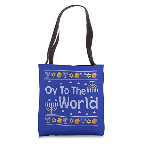 Oy To The World Hanukkah Jewish Jew Israel Hebrew Fun Gift Tote Bag