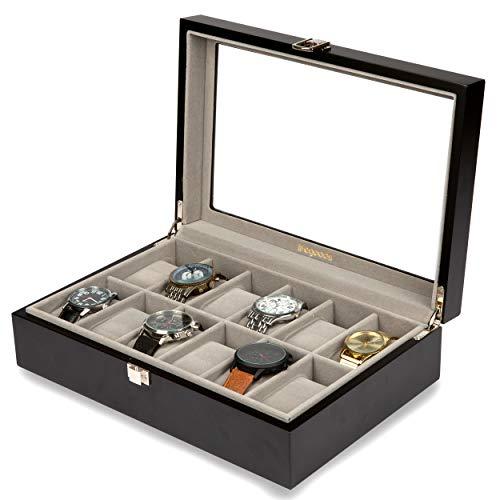 Luxe Horloge Doos - Horlogebox met Glazen Deksel - Kist voor 12 Horloges - voor Dames en Heren - Hout - Zwart