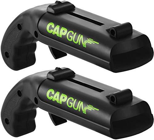 L&H Gadgets Flaschenöffner Pistole, Firing Cap Opener [Startstrecke 5-6m/ Größe: 13x5x4 cm] Bierdeckel Pistole - Cap Gun Flaschenöffner Original (Schwarz, 2 STK)