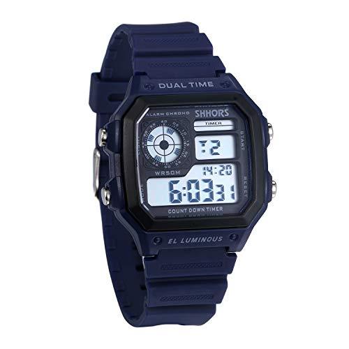 JewelryWe Herren Digitaluhr Digital Armbanduhr 30M Wasserdicht Sportuhr Quadrat Uhren mit 12/24H, Chronograph Countdown, Stoppuhr, Wecker, Kalender und LED Beleuchtung (Blau)