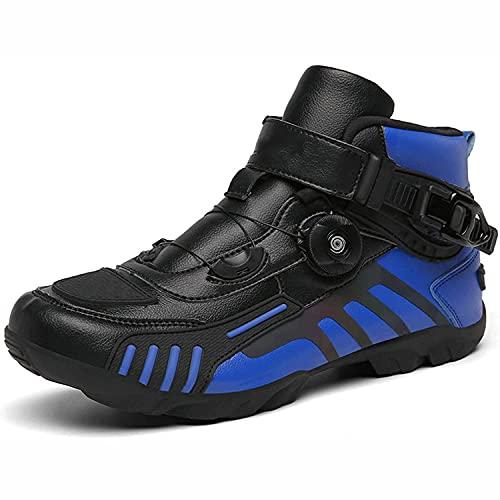 HYQW Zapatos De Motocicleta Botas De Tobillo Cortas De Motocross Negro Cuero Impermeable, Moto Off Road Shoes Racing Sports Boots VIIPOO,Blue-46 EU
