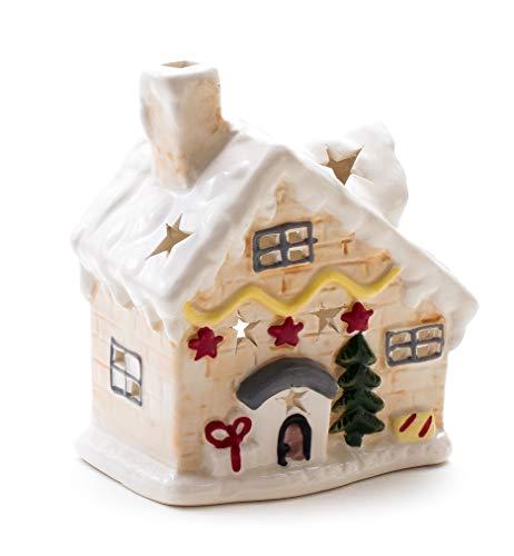 DARO DEKO Keramik Weihnachts-Haus Teelichthalter 15 x 17cm