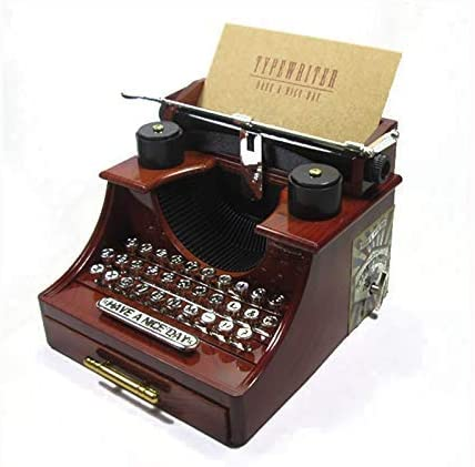 ZHBH Modelo de máquina de Escribir de plástico Vintage Caja de música Figuras Adornos Cajas de música de Cadena dinámica con cajones Artesanía Decoración del hogar Regalos para niños