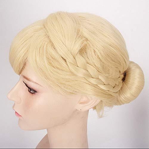 GHK Hoge Kwaliteit Anime Cosplay Prinses Elsa Anna Pruik Blond Bruin Gevlochten Synthetische Nep Haar Halloween Kostuum Pruiken Voor volwassenen elsa Updo
