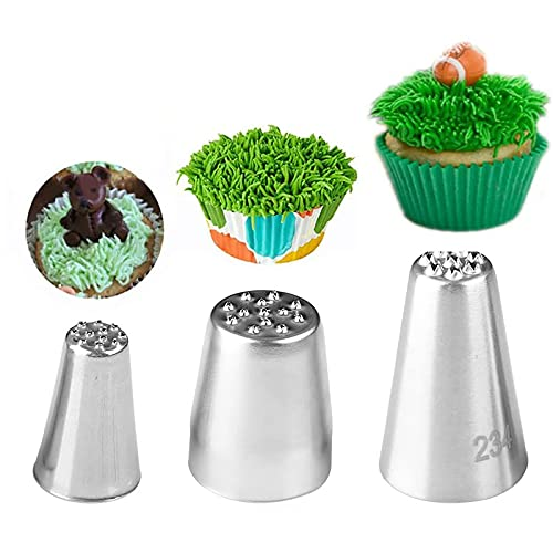 3Pcs Grass Cream Icing Piping Nozzles Tips Set, Stainless Steel Russian Piping Tips DIY Decor Baking Tool for Fury Cake Fondant Buttercream Decoration