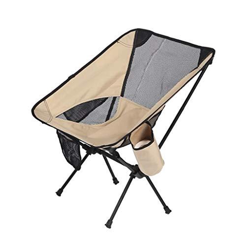 JYQ-SZRQ Silla de Camping Plegable Portable al Aire Libre Beach Ligera Cátedra de Pesca Jardín Senderismo Mochilero Viajes Asiento Exterior (con Capacidad for 120 kg) (Color : Khaki)